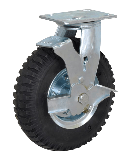 Колесо PRSb 200 большегрузное рифленое поворотное с тормозом