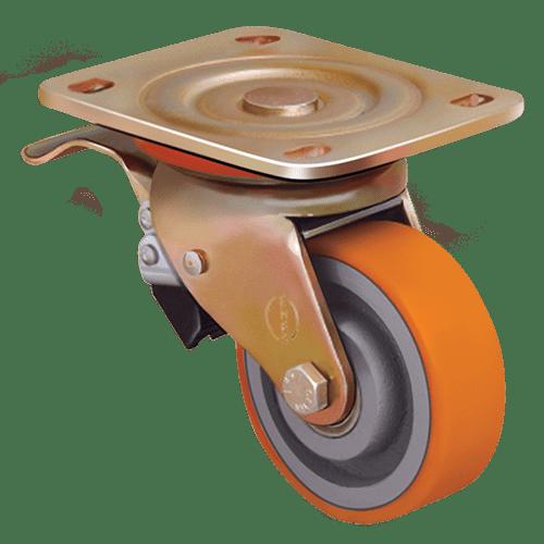 Колесо ED01 VBP 200 F полиуретановое поворотное с тормозом