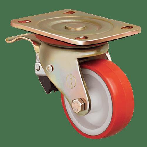 Колесо ED01 ZBP 100 F полиуретановое поворотное с тормозом